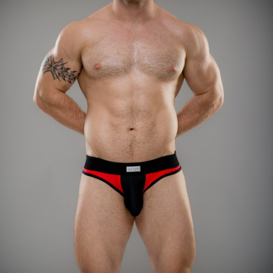 SUKREW Full V Brief in Red & Black