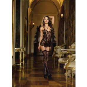 AIS Black Lace Fishnet Halter Garter Dress O/S