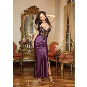 AIS Plum Full Length Bias Cut Gown
