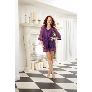 AIS Plum Stretch Lace Robe