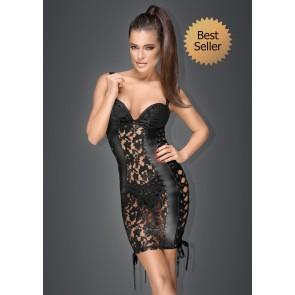 Noir Lace & Power Wet Look Mini Dress