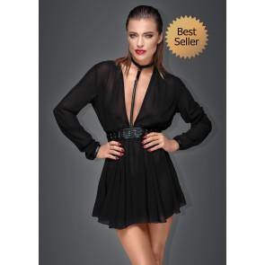 Noir Chiffon Mini Dress with Choker & Belt