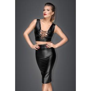 Noir Power Wet Look Pencil Skirt