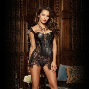 Beyonce Leather and Lace Corset