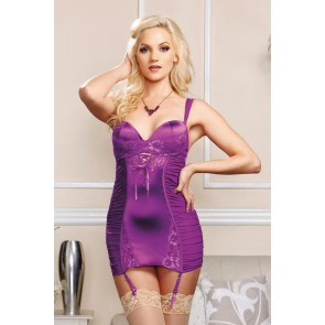iCollection Stretch Satin Lace & Mesh Chemise