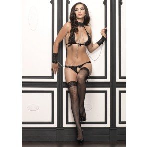Lace Bra Set with Matching attached Collar & Wrist Cuffs