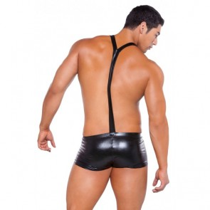 Allure Zeus Wet Look Suspender Shorts