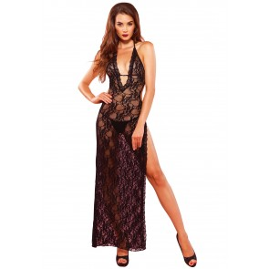 Long Lace Deep V Dress