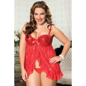 Hot Stuff Sequin & Lace Babydoll