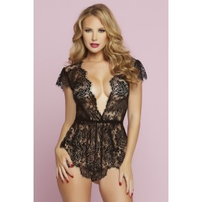Seven Til Midnight Eyelash Lace Romper in Black
