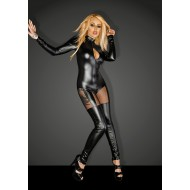 Noir Power Wet Look Catsuit with Tulle Inserts