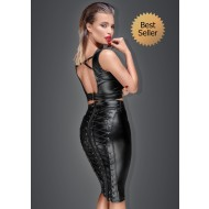 Noir Power Wet Look Pencil Skirt
