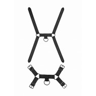 Ouch! Skulls and Bones Male Harness with Spikes Black