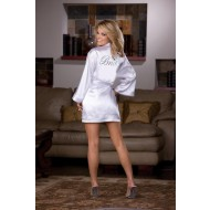 White Satin Robe & Babydoll with Bride Accent
