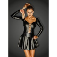 Noir Power Wet Look Mini Dress with Rocky Eyelets