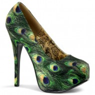 Teeze: Green Multi Peacock Fabric Shoe