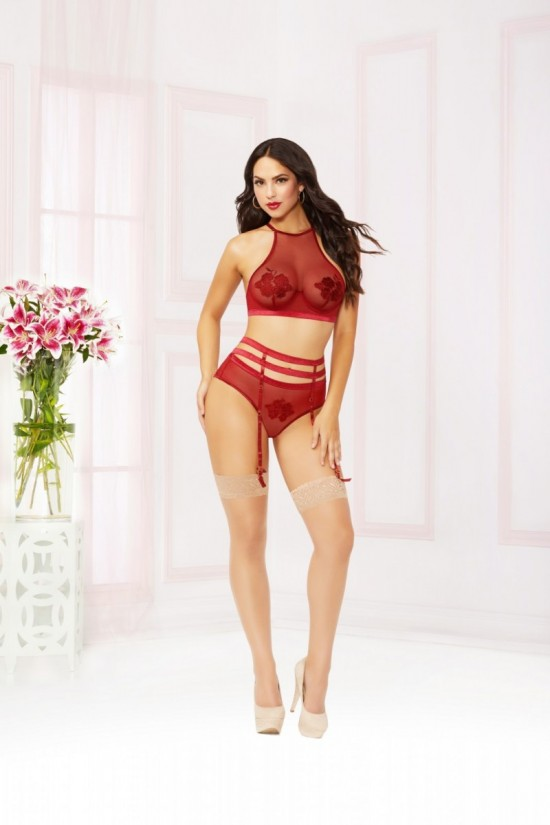 Seven til Midnight Three Piece Bra Set with Mesh High Neck Bra