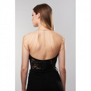 MAGNIFIQUE · METALLIC CHAIN SHOULDERS & BACK JEWELLERY GOLD