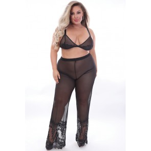 Sweet Dream Eyelash Lace & Mesh Pant Set - Plus Size