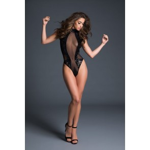 Adore By Allure Sleeveless Sequins & Sheer High Neck Body