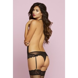 Seven Til Midnight Feather Galloon Lace & Mesh Teddy in Black