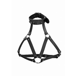 Ouch! Skulls and Bones Harness with Skulls & Spikes Black