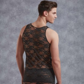 DOREANSE Mens Lace Singlet Vest Top