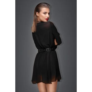 Noir Chiffon Mini Dress with Choker & Belt