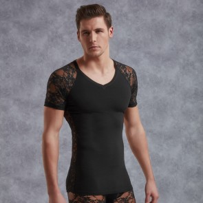 DOREANSE Mens Lace T-Shirt
