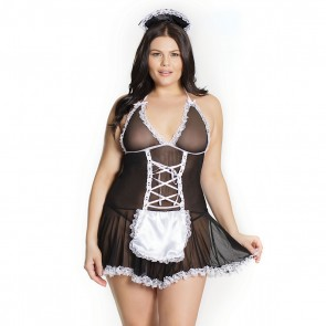 Plus Size French Maid Baby Doll Black/White