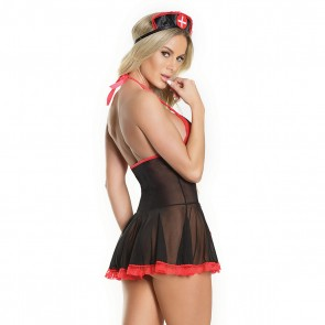 Nurse Babydoll Black/Red