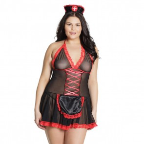 Plus Size Nurse Babydoll Black/Red