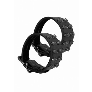 Ouch! Skulls and Bones Handcuffs with Skulls Black