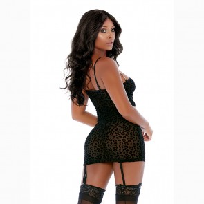 Chain Reaction Leopard Mesh Chemise Set