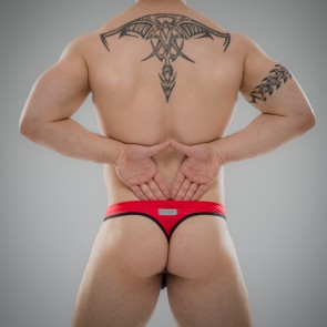 SUKREW Full Thong in Red & Black