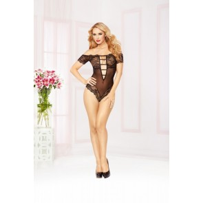 Seven til Midnight Floral Lace & Mesh off the Shoulder Teddy