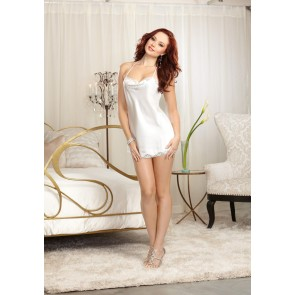 Pearl Satin Chemise with Bride Accent