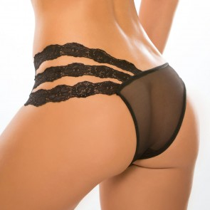 Adore by Allure Wild Orchid Crotchless Sheer & Lace Knickers