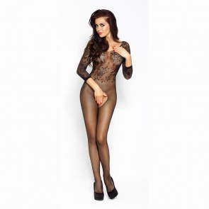 Passion Floral Mesh Crotchless Bodystocking