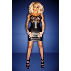 Noir Wetlook Tull & PVC Dress