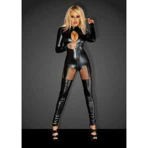 Power Wetlook Catsuit with tulle cutouts