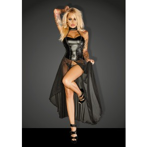 Power Wetlook Dress with Long Tulle Skirt & Eyelets