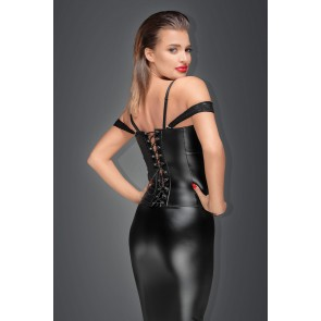 Corset with lace and powerwetlook with detachable straps