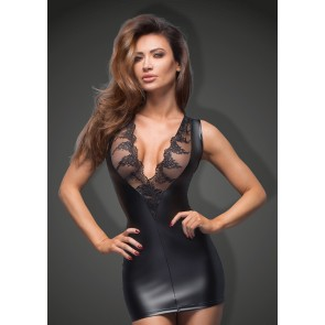 Power Wetlook Minidress with Lace Cleavage