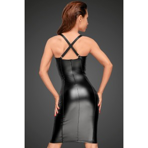 Power Wetlook dress with chequered tape inserts on the waist and bust
