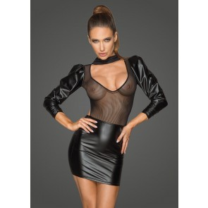 Power Wetlook and Tulle Retro Sleeve Dress