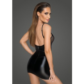 Power Wetlook Minidress with Tulle Inserts