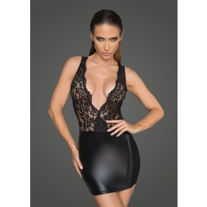Power Wetlook and Lace Minidress