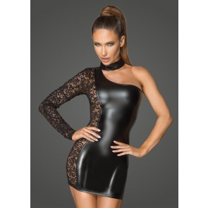 Asymmetrical Power Wetlook and Lace Dress