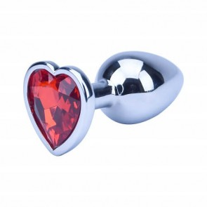Precious Metal Silver Heart Shaped Metal Butt Plug - Small